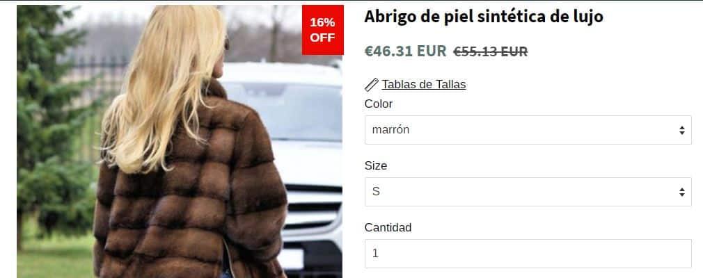 Abrigo de piel sintética vendida con fotos de piel natural 1